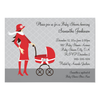 Elegant Winter Gray and Red Baby Shower 5x7 Paper Invitation Card