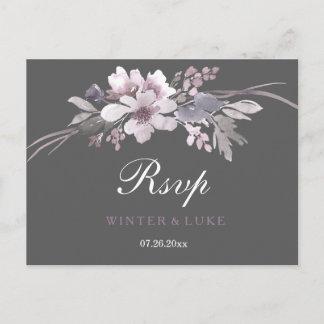 Elegant Winter Gray Floral Wedding RSVP Invitation Postcard