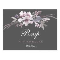 Elegant Winter Gray Floral Wedding RSVP Postcard