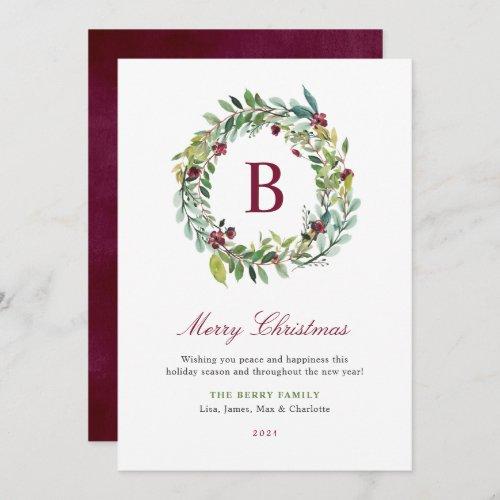 Elegant Winter Greenery Burgundy Monogram Wreath Holiday Card