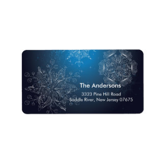 Elegant Winter Holiday Snowflakes Return Address Address Label