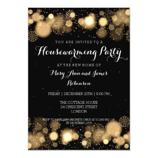 Elegant Winter Housewarming Party Gold 5x7 Paper Invitation Card