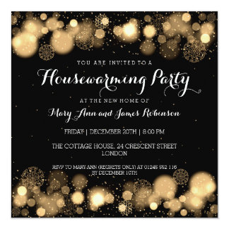Elegant Winter Housewarming Party Gold Invitation