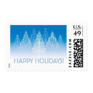 Elegant Winter Pines Happy Holidays Postage Stamp