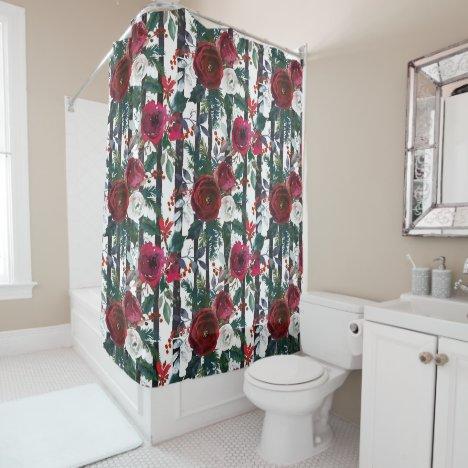 Elegant Winter Red Rose Black Vertical Stripe Shower Curtain