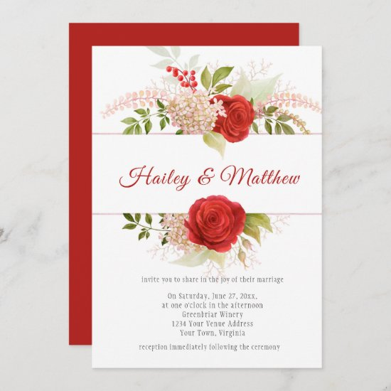 Elegant Winter Red Roses and Greenery Frame   Invitation