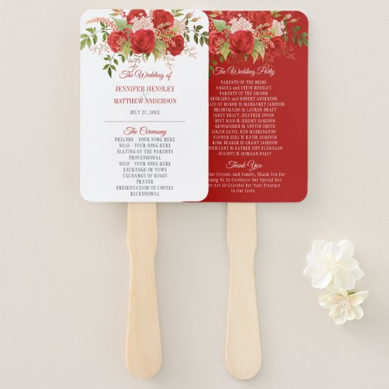 Elegant Winter Red Roses and Greenery Wedding   Hand Fan
