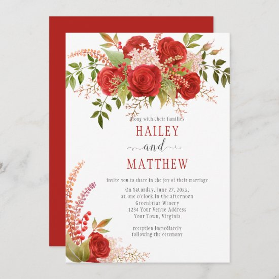 Elegant Winter Red Roses and Greenery Wedding   Invitation