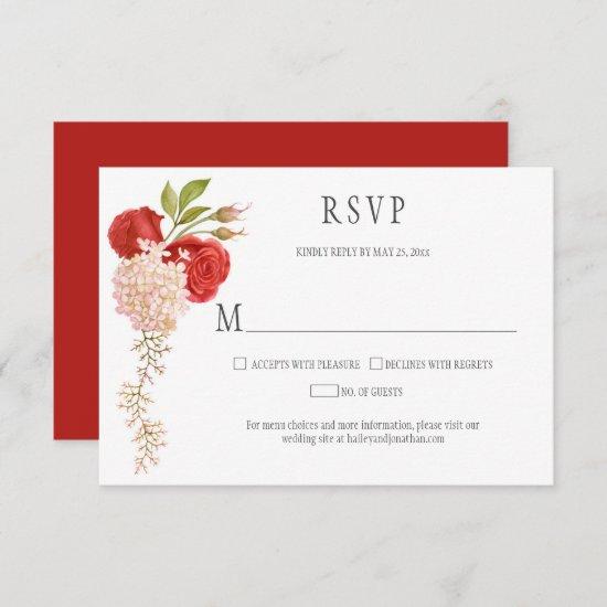 Elegant Winter Red Roses and Hydrangeas RSVP Card