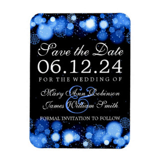 Elegant Winter Save The Date Blue Lights Magnet