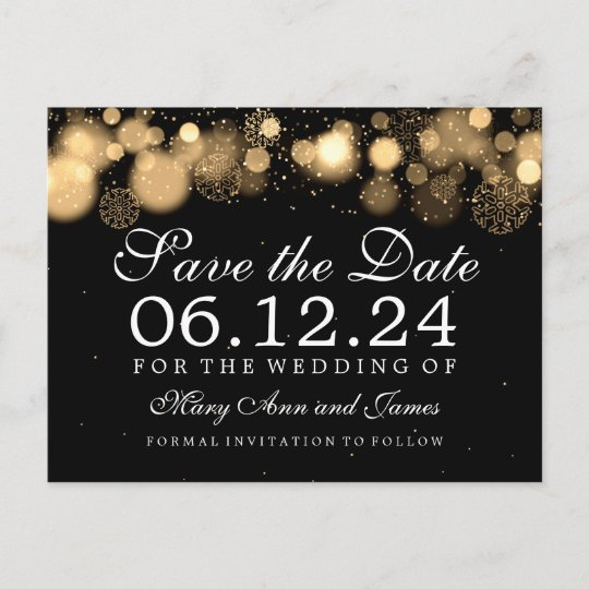 elegant winter save the date gold lights announcement postcard