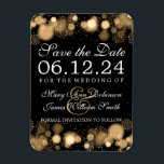 "Elegant Winter Save The Date Gold Lights Magnet<br><div class=""desc"">Elegant Winter wedding &quot;Save The Date&quot; design with Gold Lights,  Snowflakes and Sparkles,  custom names and date text.</div>"