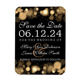 Elegant Winter Save The Date Gold Lights Magnet