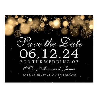 Elegant Winter Save The Date Gold Lights Postcard