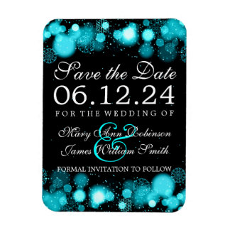 Elegant Winter Save The Date Turquoise Lights Magnet
