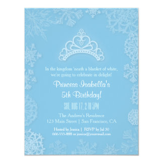 Elegant Winter Snow Princess Girls Birthday Party Card