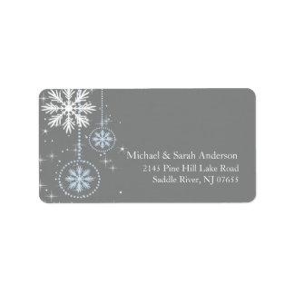 Elegant Winter Snowflakes Blue Grey Address Label