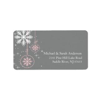 Elegant Winter Snowflakes Pink Grey Address Label
