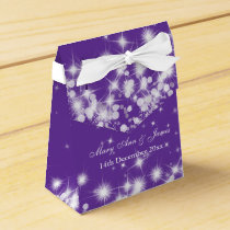 Elegant Winter Sparkle Purple Favor Box