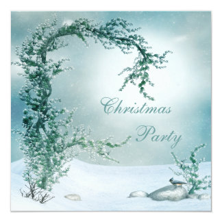 Elegant Winter Tree & Bird Christmas Party Card