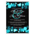 Elegant Winter Wedding Turquoise Lights Card
