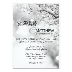 Elegant Winter Wonderland Snow Snowflakes Wedding Invitation at Zazzle