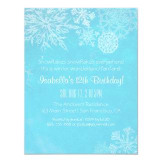 Elegant Winter Wonderland Snowflake Birthday Party Card
