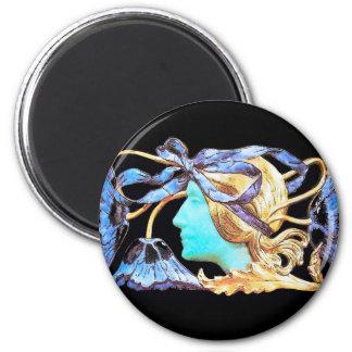 ELEGANT WOMAN BEAUTY JEWEL /LADY,BLUE BOW,FLOWERS 2 INCH ROUND MAGNET