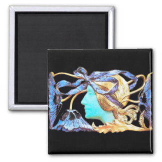 ELEGANT WOMAN BEAUTY JEWEL /LADY,BLUE BOW,FLOWERS 2 INCH SQUARE MAGNET