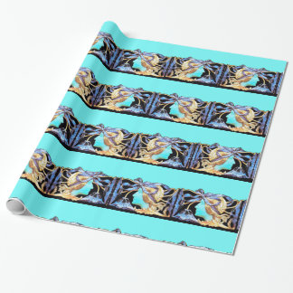 ELEGANT WOMAN BEAUTY JEWEL /LADY,BLUE BOW,FLOWERS WRAPPING PAPER