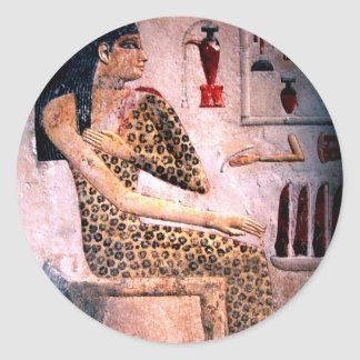 ELEGANT WOMAN ,FASHION AND BEAUTY OF ANTIQUE EGYPT CLASSIC ROUND STICKER