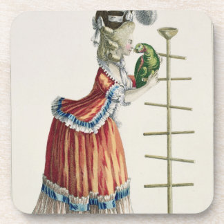 Elegant Woman in a Caraco 'a la Polonaise' and a h Beverage Coaster