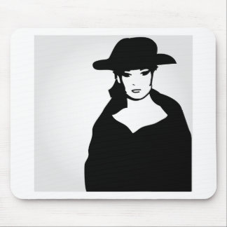 Elegant woman in a hat mouse pad