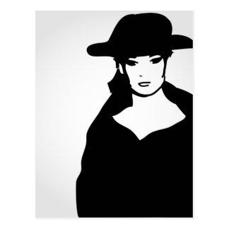 Elegant woman in a hat postcard