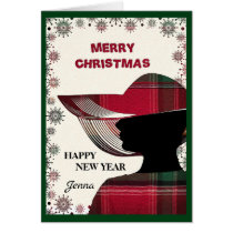 Elegant Woman Madras Merry Christmas New Year Card