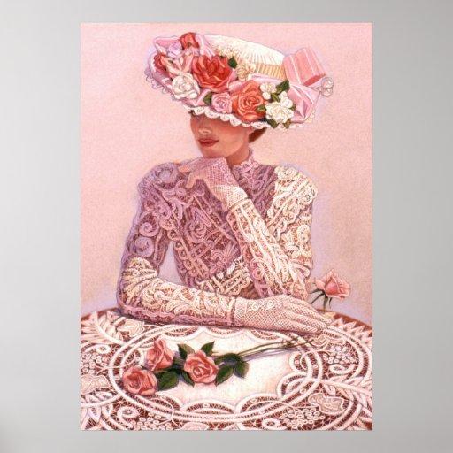 Elegant woman, roses hat, lace decor art poster