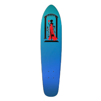 Elegant woman silhouette in red dress with mask skateboard deck