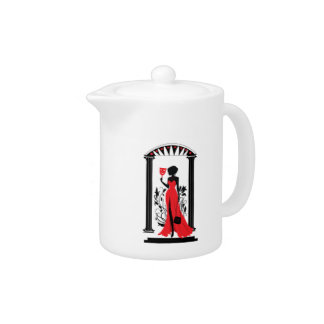 Elegant woman silhouette in red dress with mask teapot