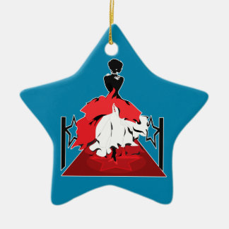 Elegant woman silhouette on red carpet with stars ceramic ornament