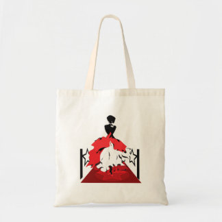 Elegant woman silhouette on red carpet with stars tote bag