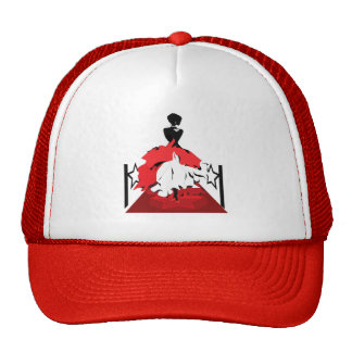 Elegant woman silhouette on red carpet with stars trucker hat