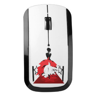 Elegant woman silhouette on red carpet with stars wireless mouse
