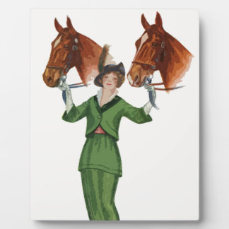 Elegant Woman with Horses Plaques