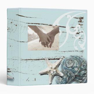 Elegant wood BLue Seashells Beach Wedding 3 Ring Binder
