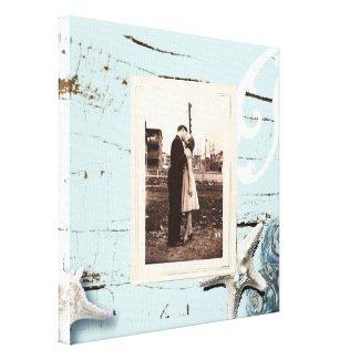 Elegant wood BLue Seashells Beach Wedding Canvas Prints