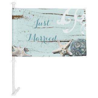 Elegant wood BLue Seashells Beach Wedding Car Flag