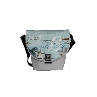 Elegant wood BLue Seashells Beach Wedding Courier Bag