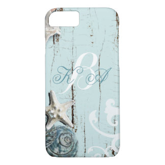 Elegant wood BLue Seashells Beach Wedding iPhone 7 Case