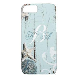 Elegant wood BLue Seashells Beach Wedding iPhone 7 Case