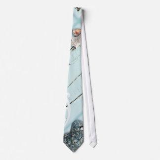 Elegant wood BLue Seashells Beach Wedding Neck Tie